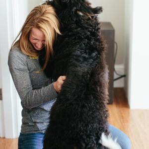 Jess Trimble Veterinarian with dog patient