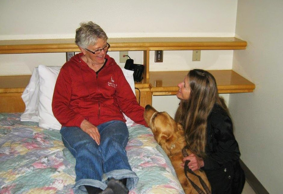 Karyn and Ceili (Golden Retriever) practice interacting with a patient on bed