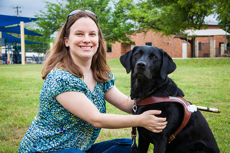 Jessica Naert of Denton, Texas with her guide dog Makiko.