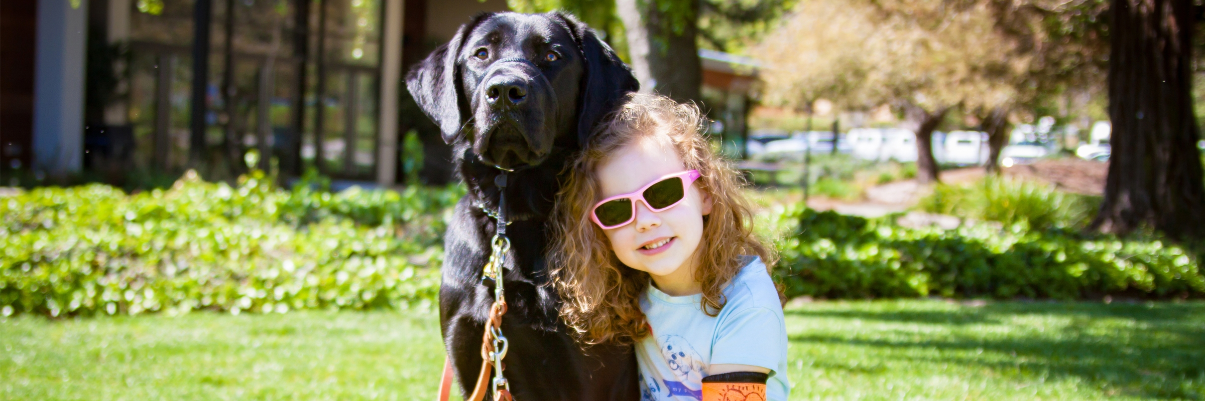 A young girl with her black Lab K9 Buddy.
