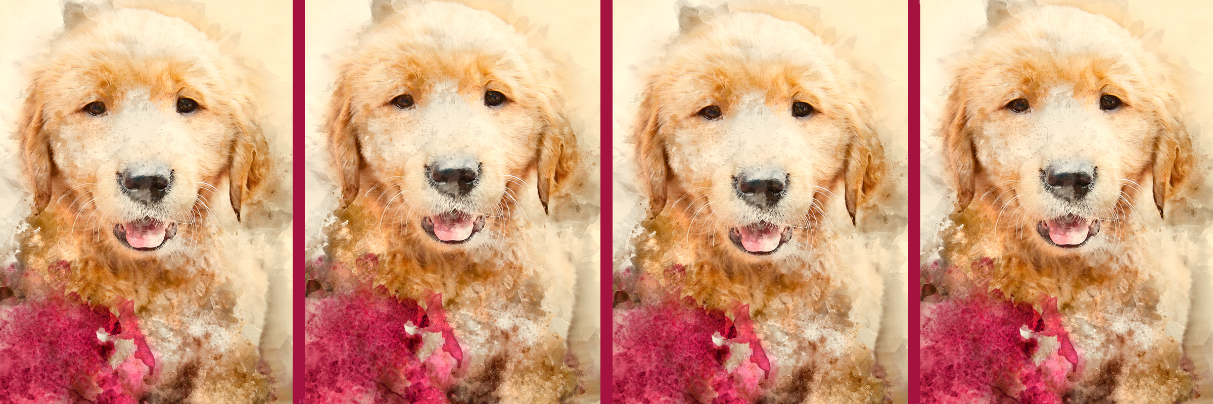 A watercolor painting of a Golden Retriever puppy, repeated four times across the width of the banner.