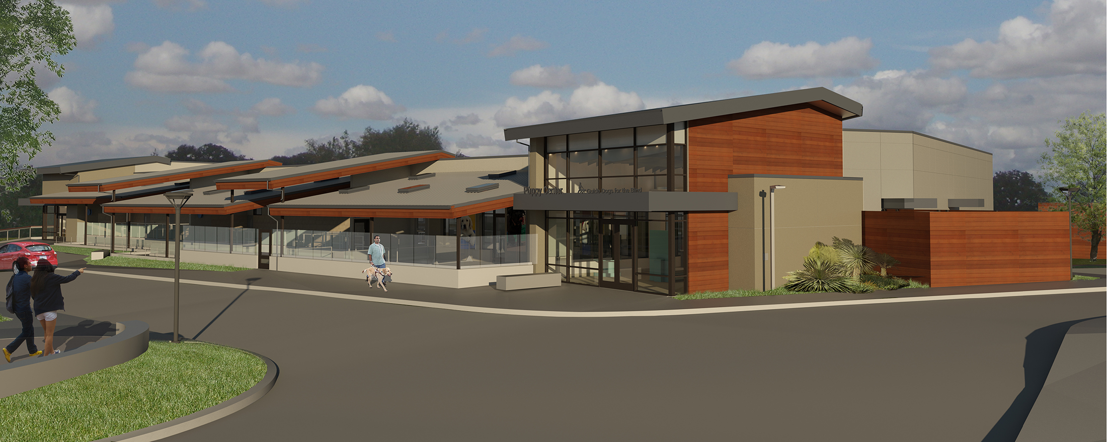 Professional rendering of the new large Puppy Center that will be on the San Rafael, CA campus