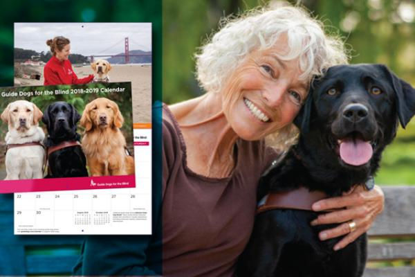 Linda Grice with her guide dog Yukari and an inset photo of the GDB calendar.