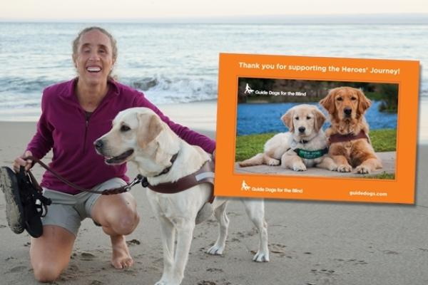A collage image containing a photo of the magnet which has an orange frame surrounding a photo of a Lab/golden cross puppy in training lying next to a golden retriever guide dog. The magnet photo is overlaying a photo of GDB client, Amelia, kneeling next to her yellow Lab guide dog Lotus on a beach with the ocean behind them.