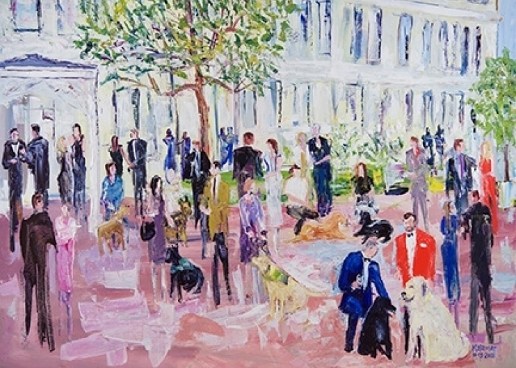 A painting of a scene from the cocktail hour of the 2018 Canine Heroes Gala.