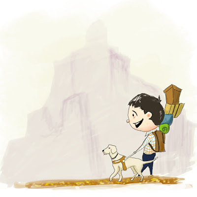 JR's cartoon drawing of a young man with a backpack smiling while walking with his guide dog down a path.