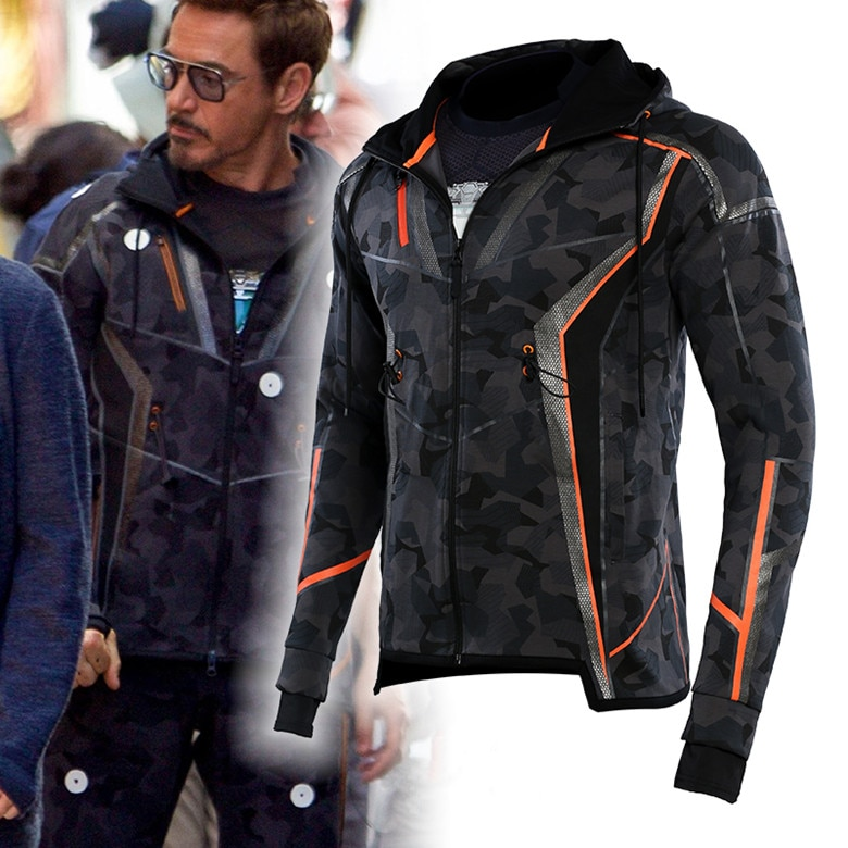 Avengers Infinity War 2018 Mens Black Tony Stark Camouflage Hoodie Top Jacket
