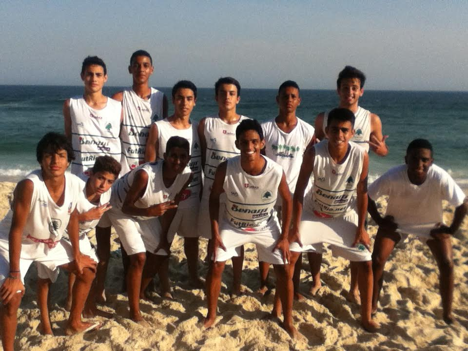 Lobo posing with his academy mates on thefamous beachesof Rio de Janeiro, Brazil.