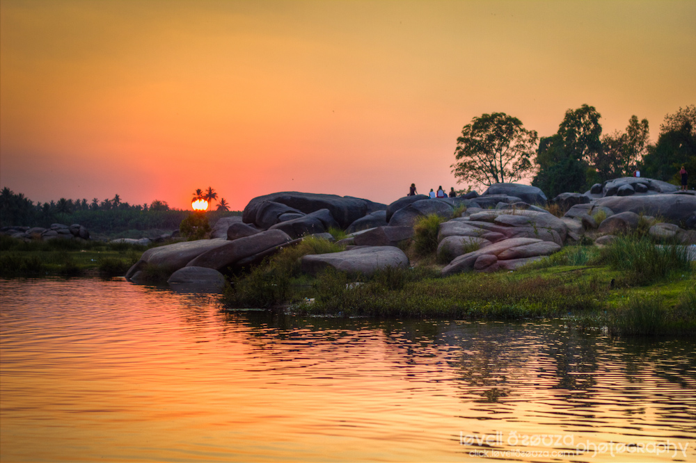 Sunset at Tungabadra River Hampi