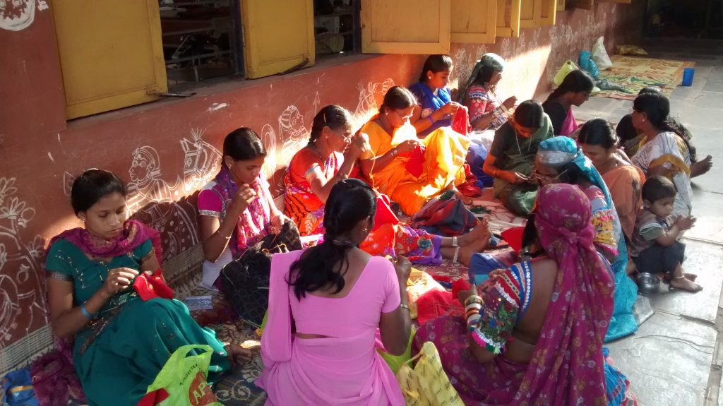 Lambani women working at the Sandur Kushala Kala Kendra