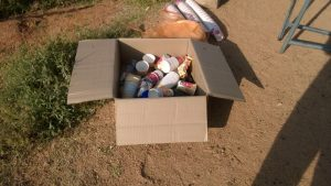 Trash collected in cartons
