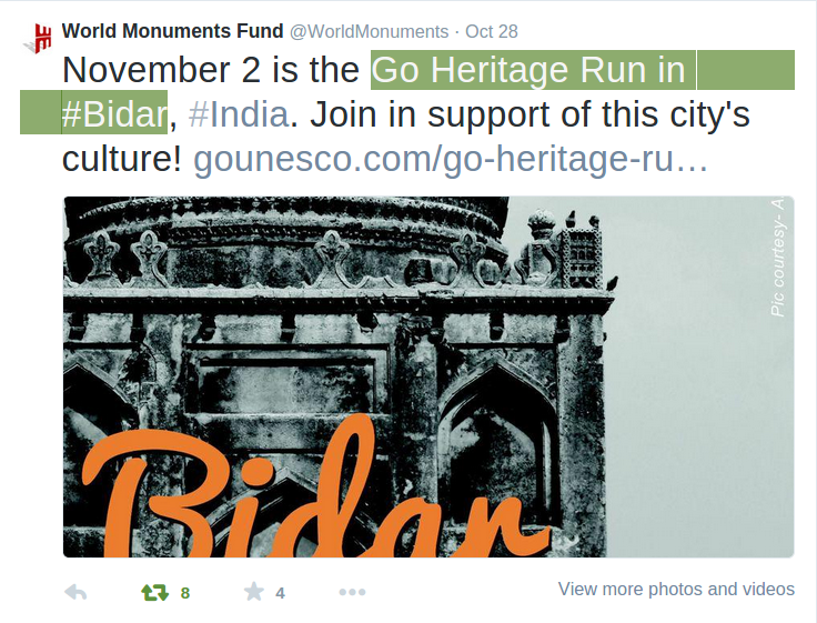 World Monuments Fun promoting Bidar