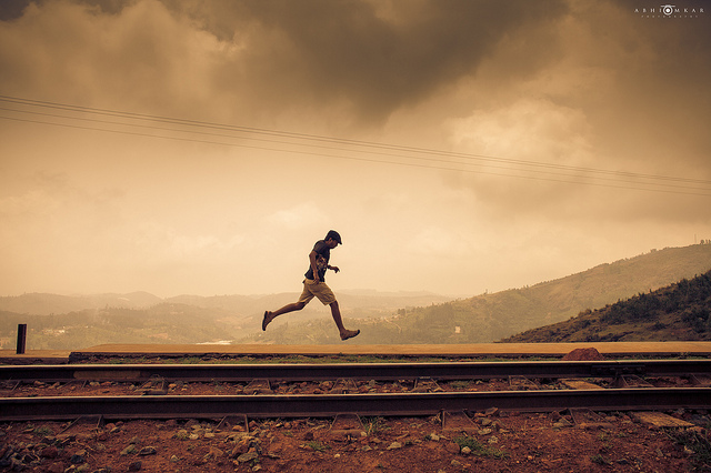 Go for a run... not on the railway track though.