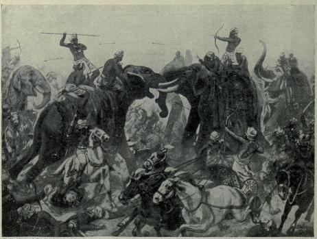 The defeat of Pulakeshin II, the Chalukhya, by Mahamalla Pallava at Badami