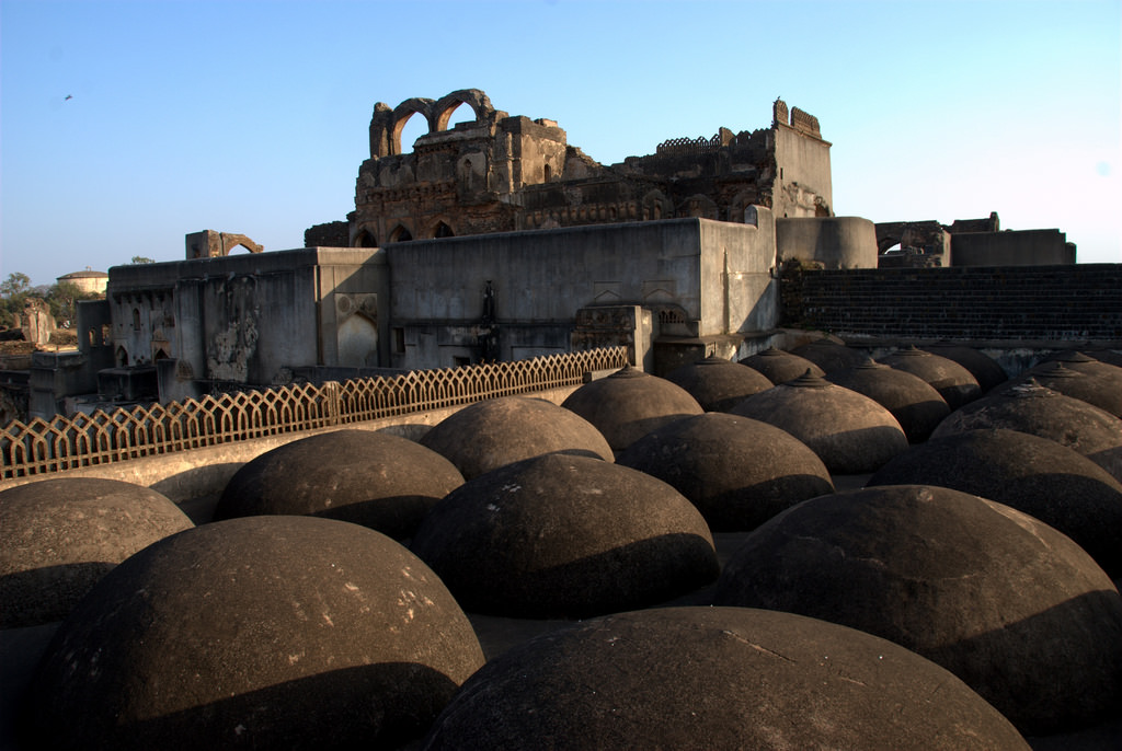 Multiple domes of the Solah Khamba Mosque