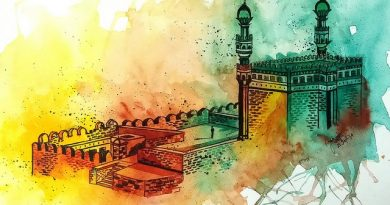 Golconda Fort, Hyderabad Watercolor by Jaee Apte