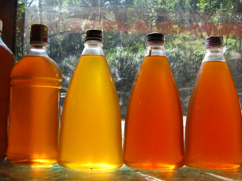 Honey sold at one of the shops in Coorg