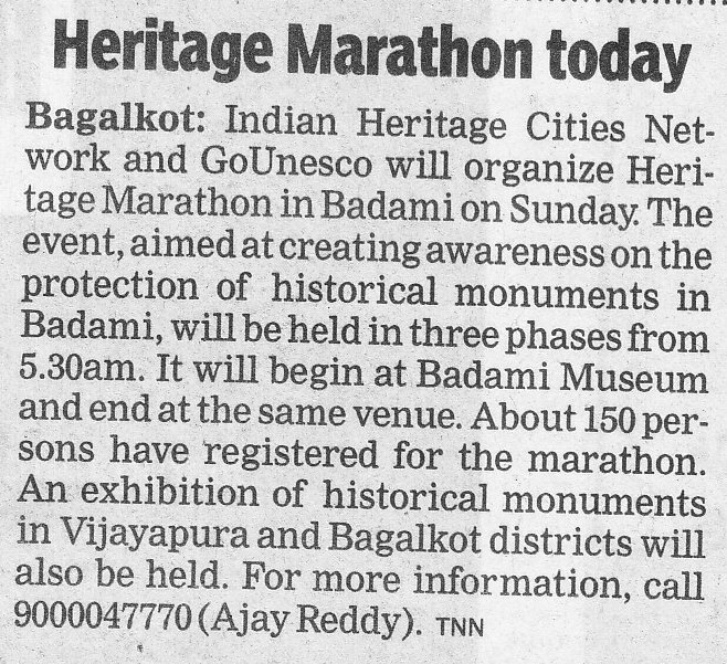 Times of India Sept 13 - Badami Heritage marathon news in TOI