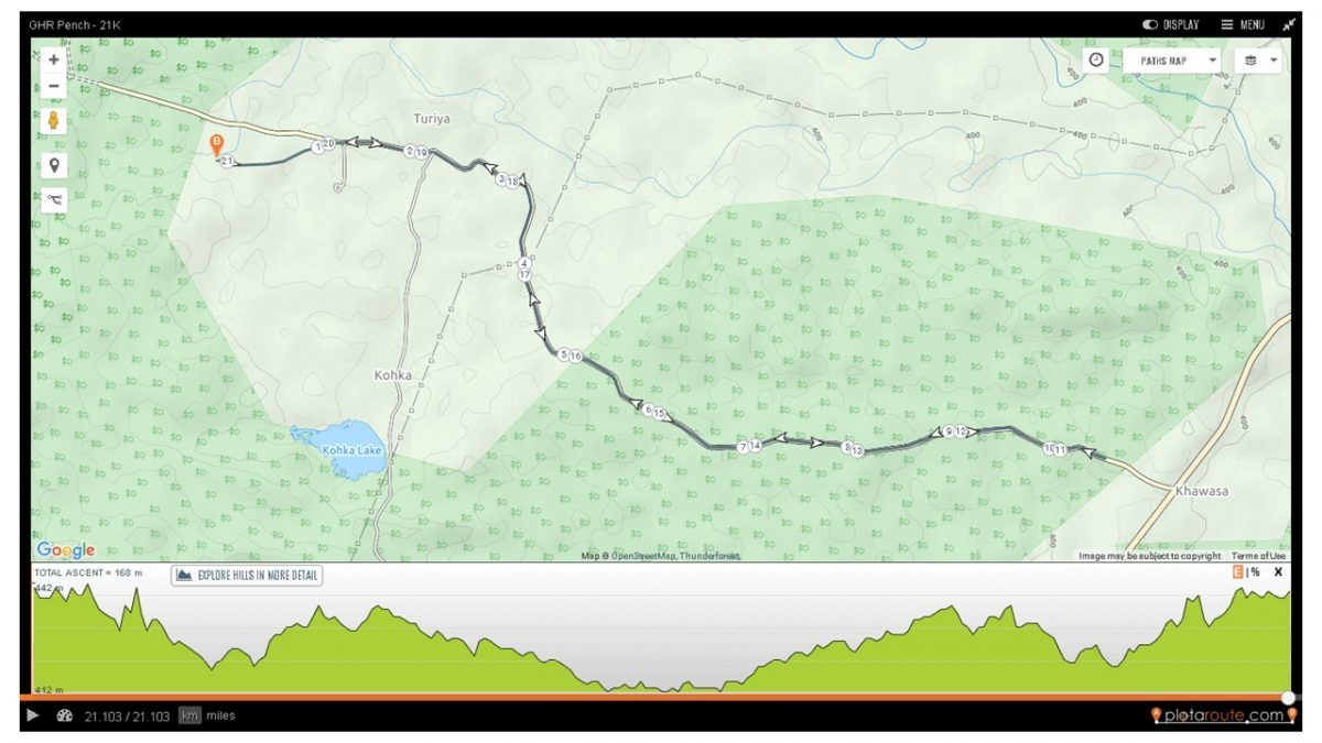 GHR Pench 21K Run Route