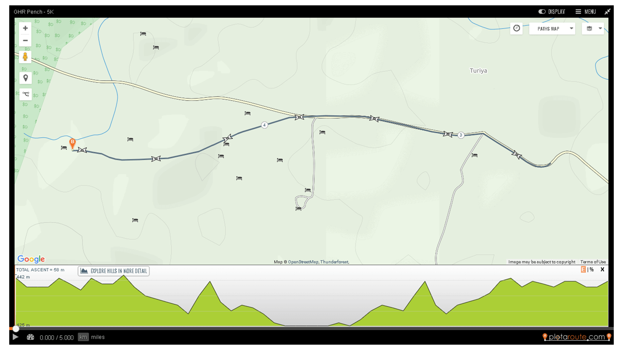 GHR Pench 5K Run Route