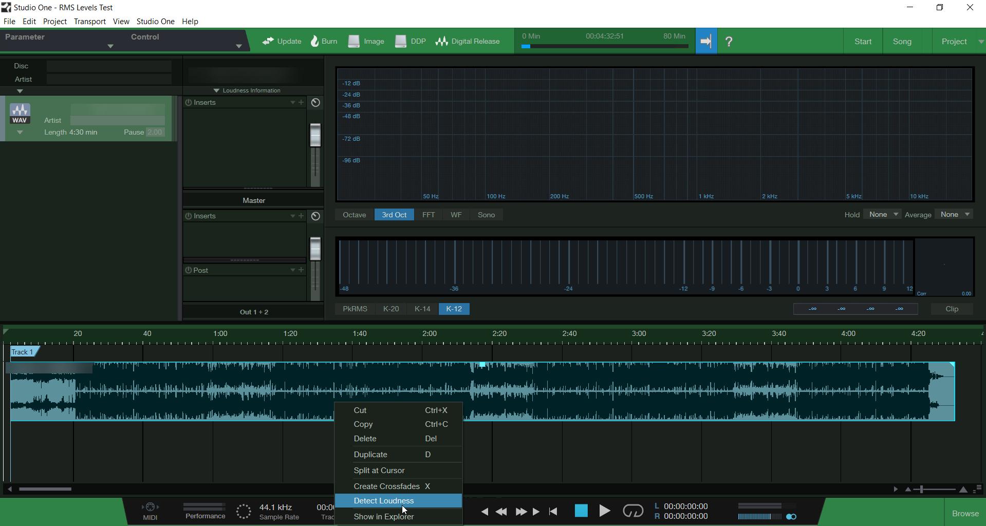 Default Presonus Studio One Project Session - Detect Loudness