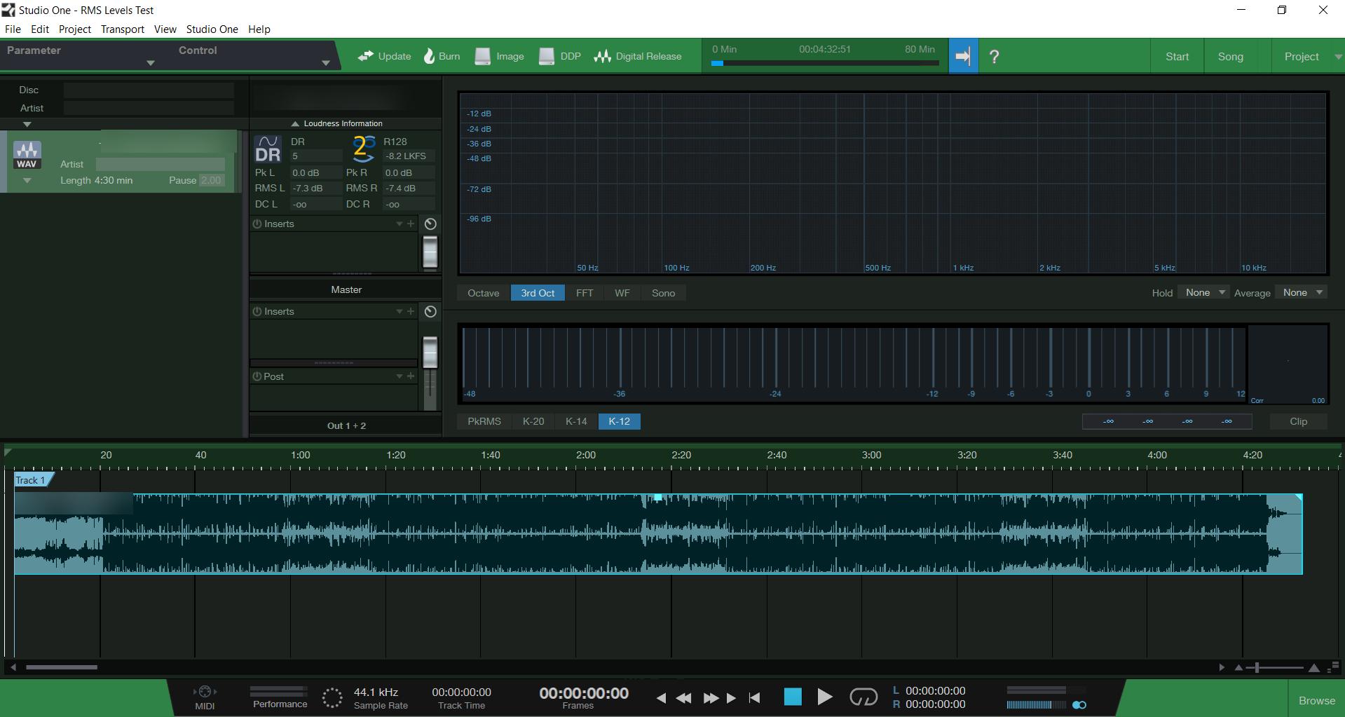 Default Presonus Studio One Project Session - Detection Loudness Level