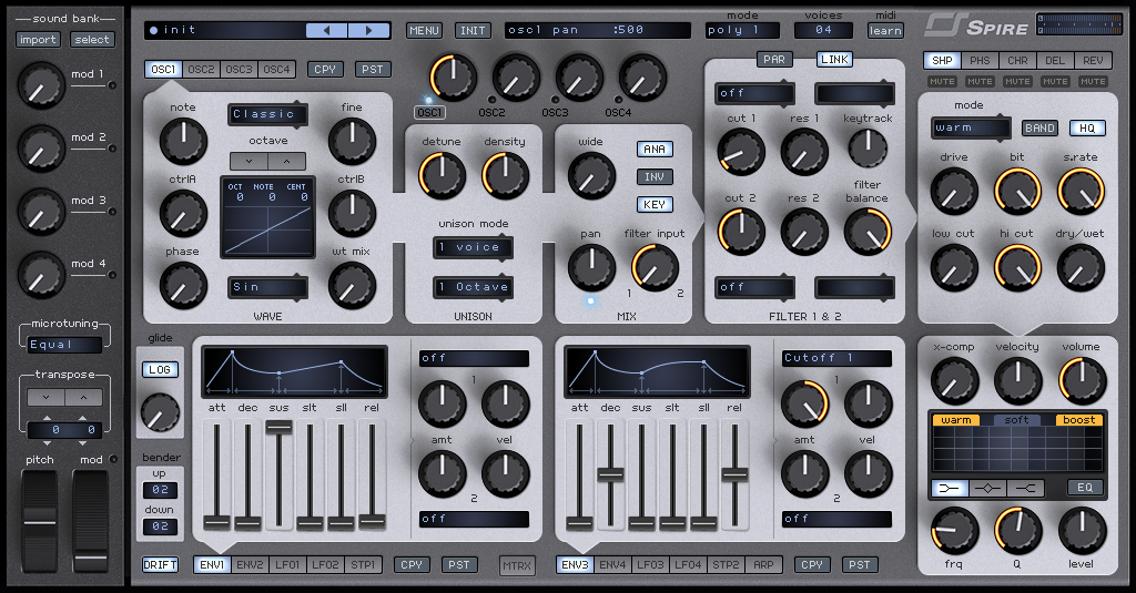 How to Make an Analog Funky Synth Bass in Spire_01 - INIT