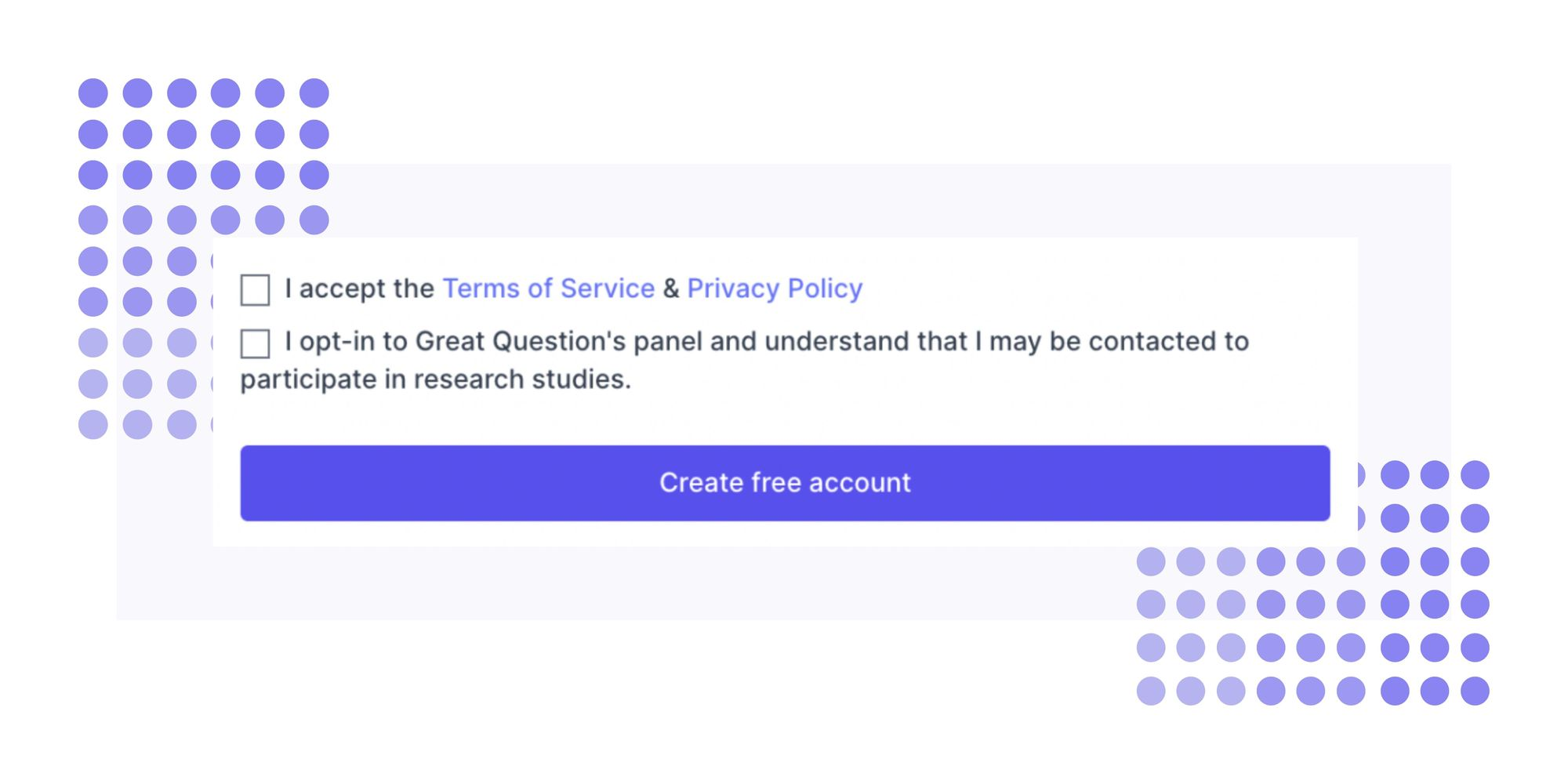 Great Question sign up page with research panel opt-in option