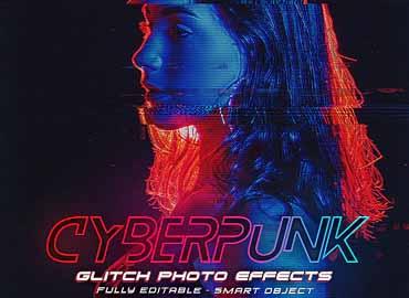 Cyberpunk Glitch Photo Effects