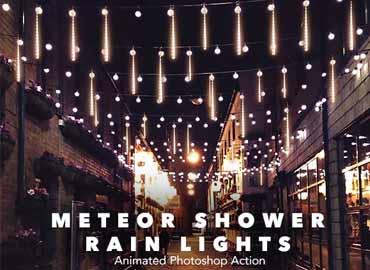 Gif Animated Meteor Shower Rain Light Photoshop Action
