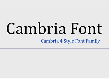 cambria font family
