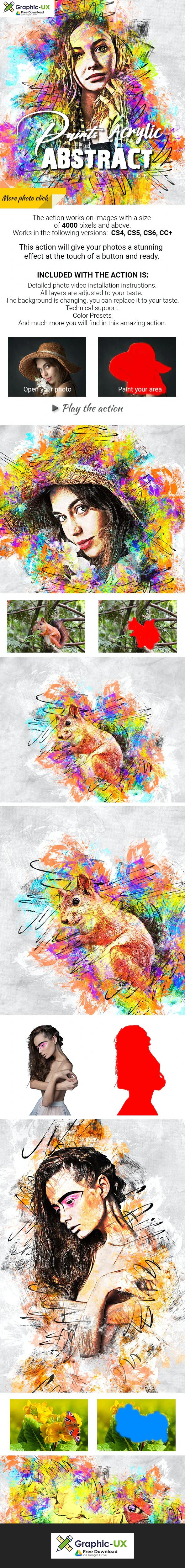 Acrylic Abstract Paints Photoshop Action