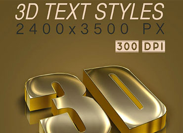 3D Text Styles Dark Gold
