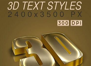 3D Text Styles Dark Gold