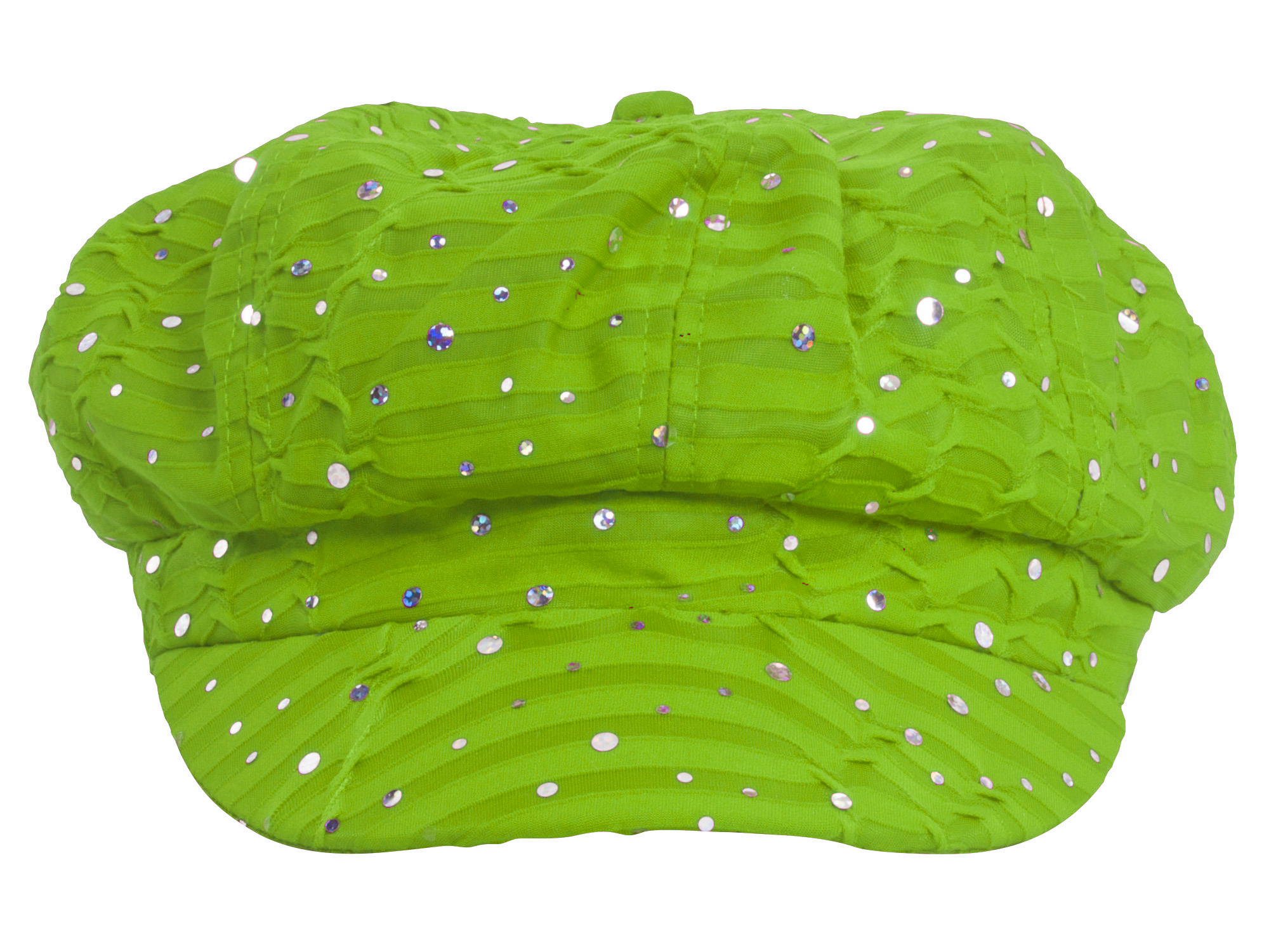 Glitter Sequin Trim Newsboy Style Relaxed Fit Cap Lime Green