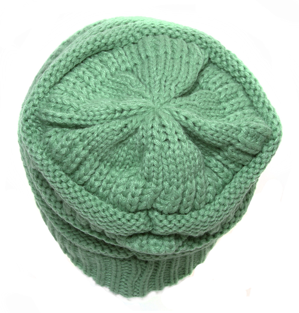 57c767fb8 Details about Thick Slouchy Knit Oversized Beanie Cap Hat - Sage