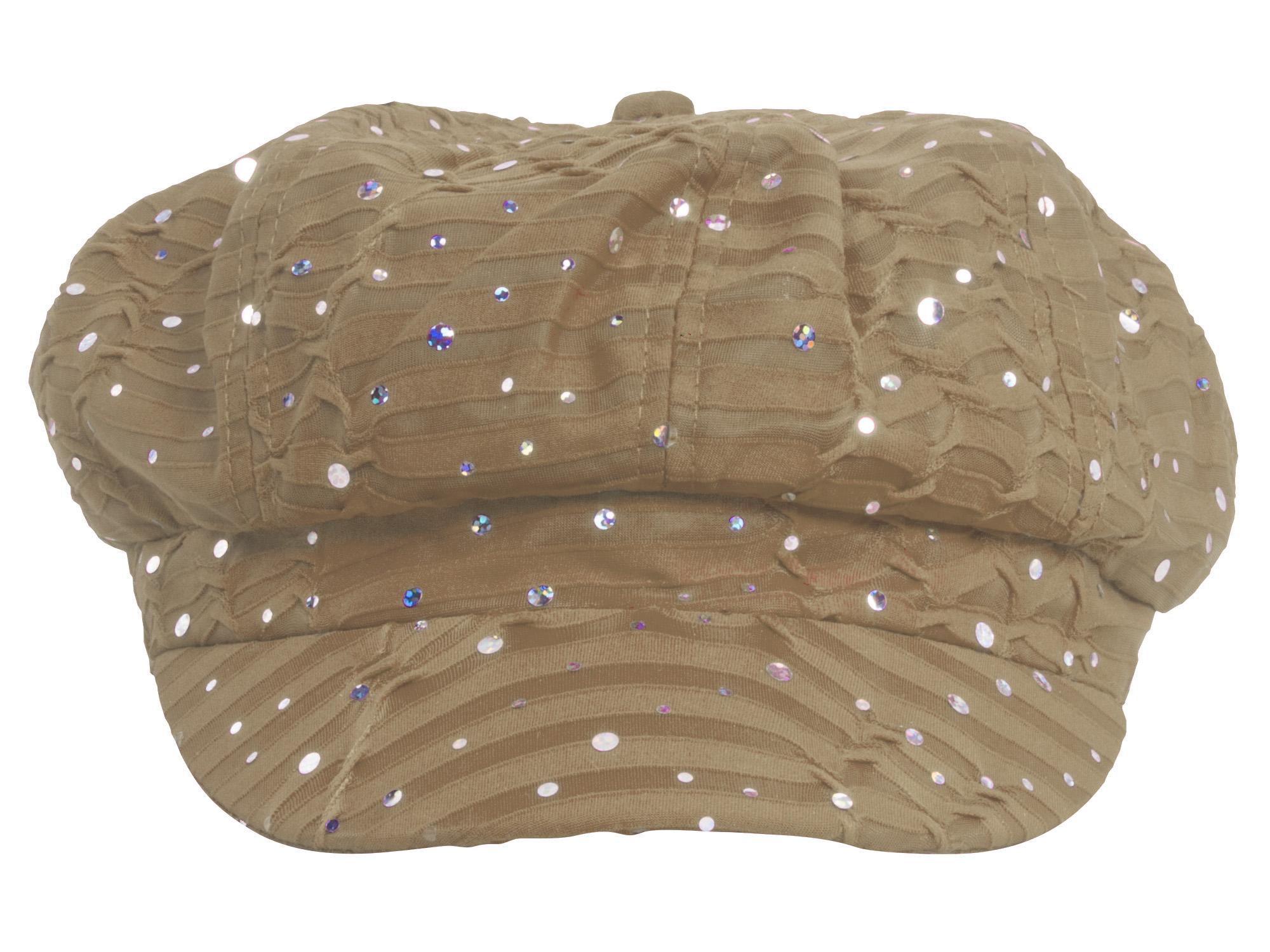Women-039-s-Glitter-Sequin-Trim-Newsboy-Style-Relaxed-Fit-Hat-Cap thumbnail 5