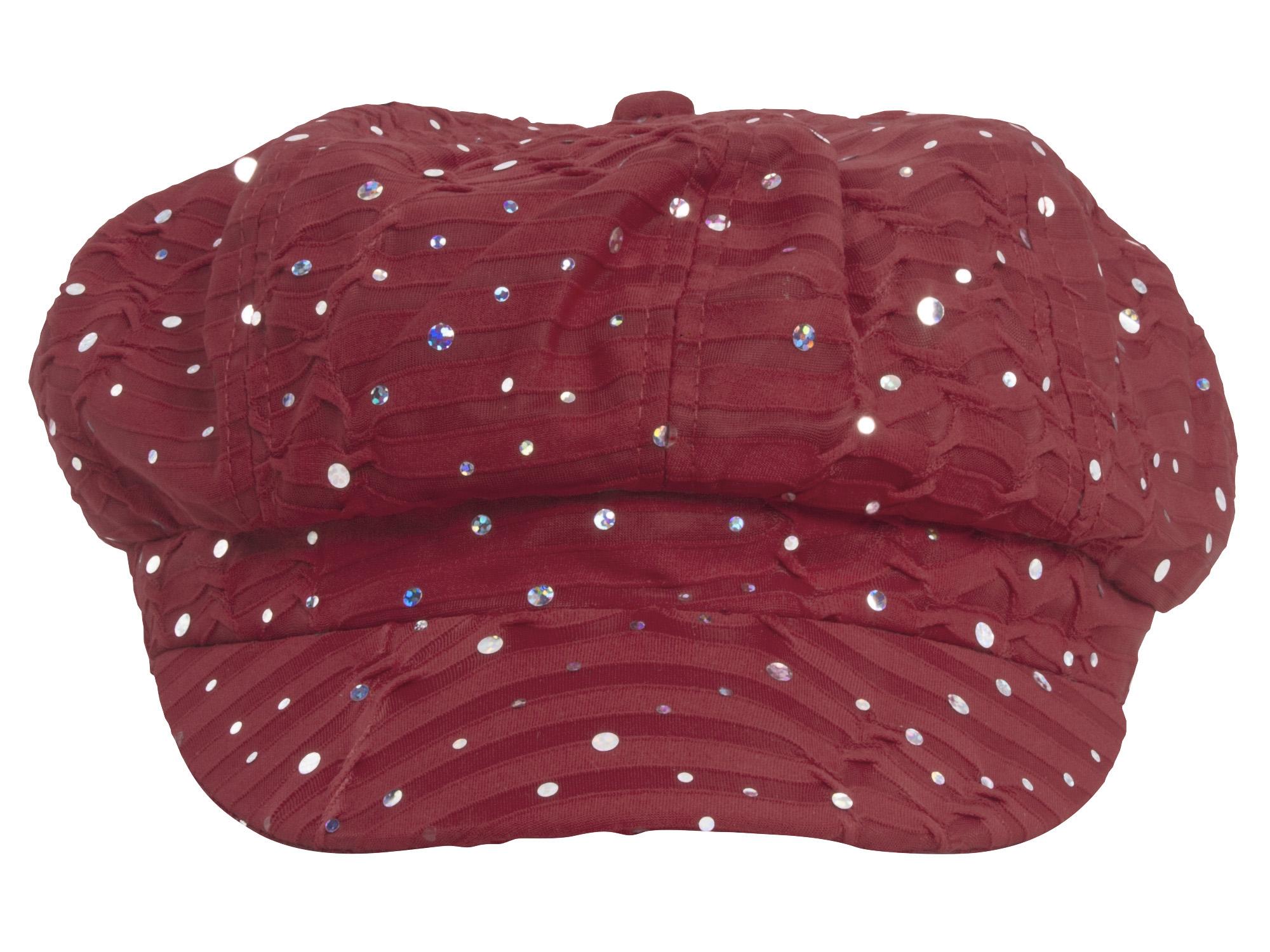 Women-039-s-Glitter-Sequin-Trim-Newsboy-Style-Relaxed-Fit-Hat-Cap thumbnail 38