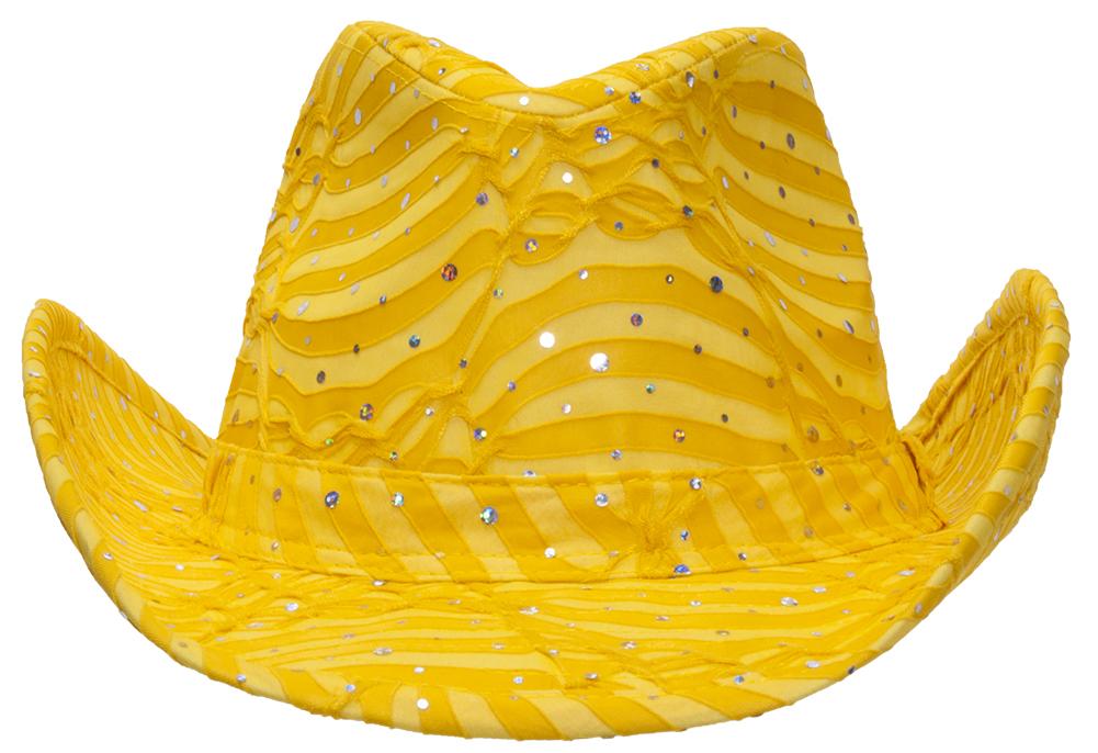 e8f5b11cd199d Glitter Sequin Trim Cowboy Hat for Ladies Yellow
