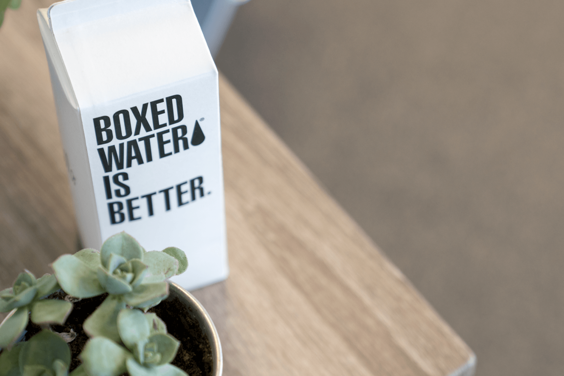 Boxed Water carton on table