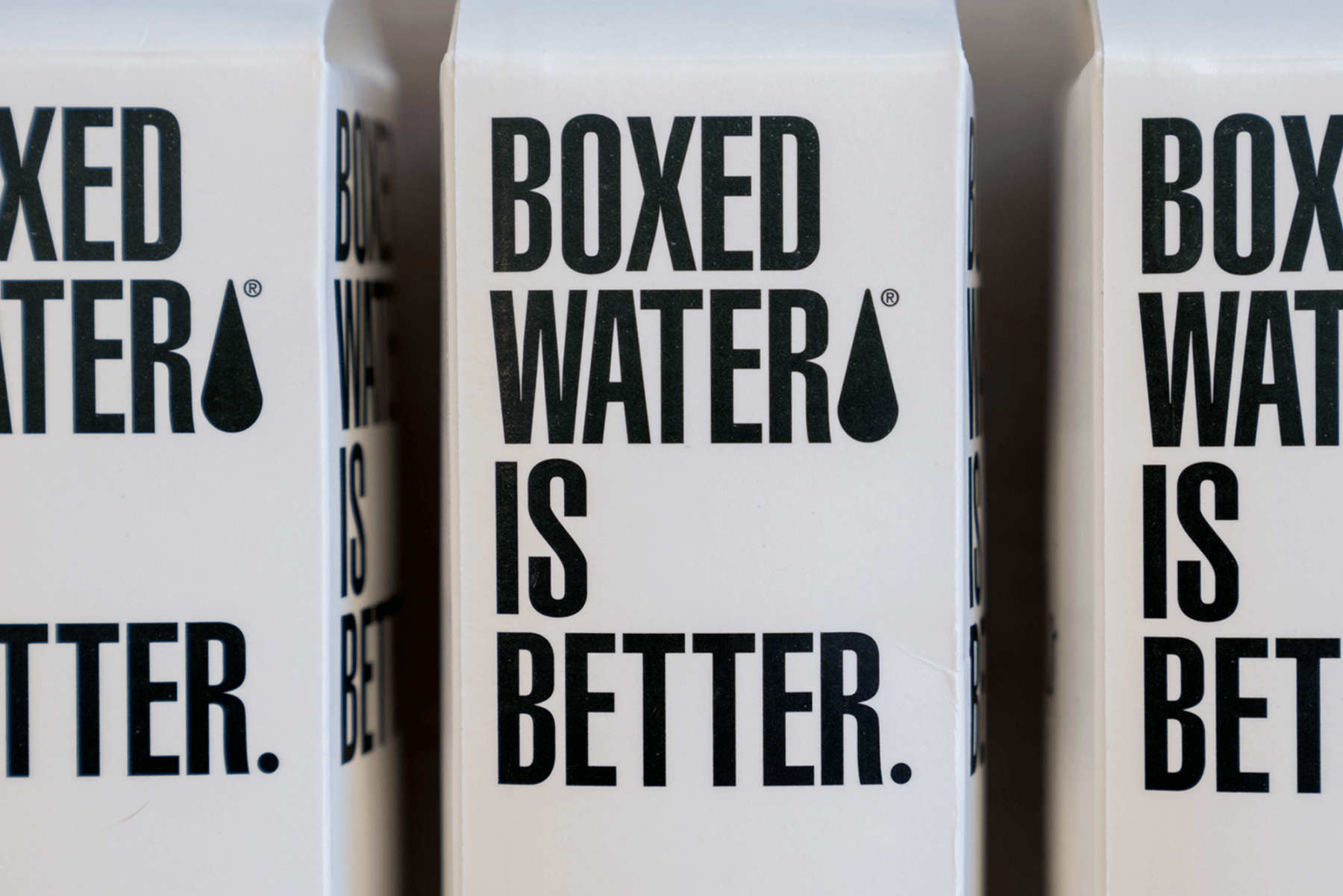 Boxed Water cartons in row