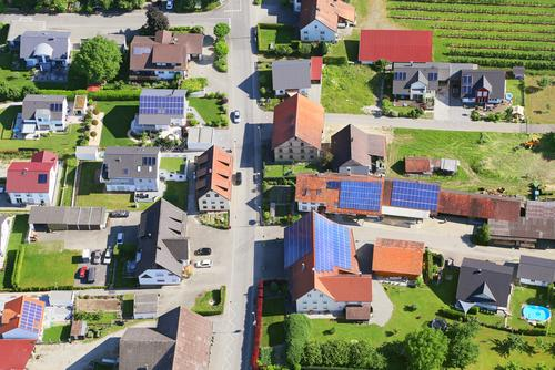 Town with solar panels on roofs