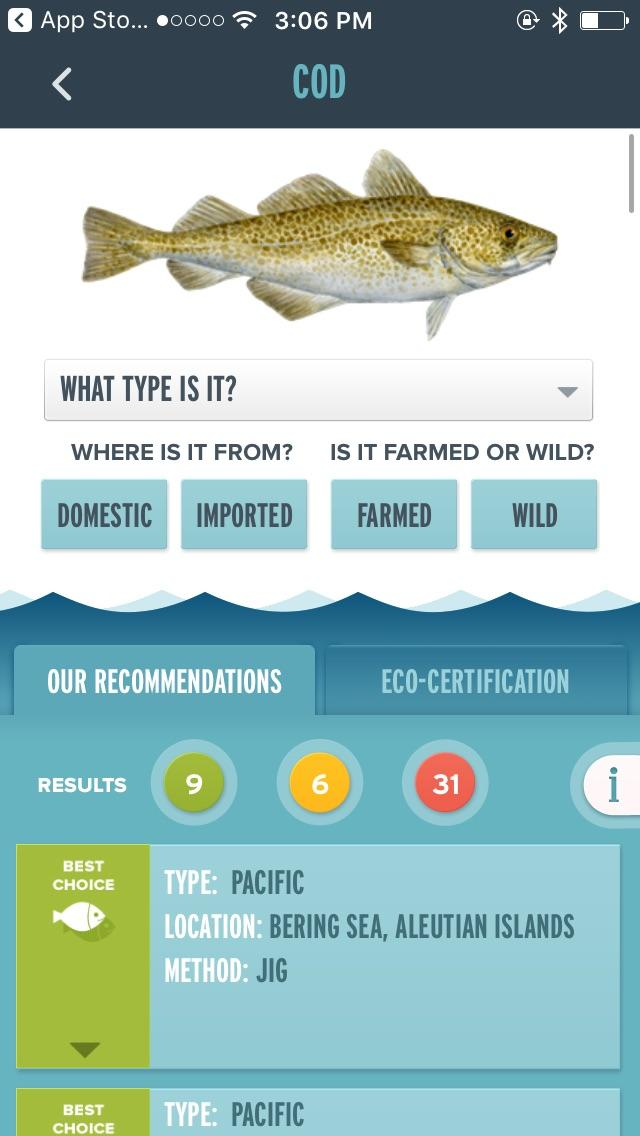 Cod in Seafood Watch app