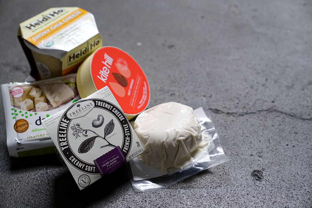 different vegan cheeses