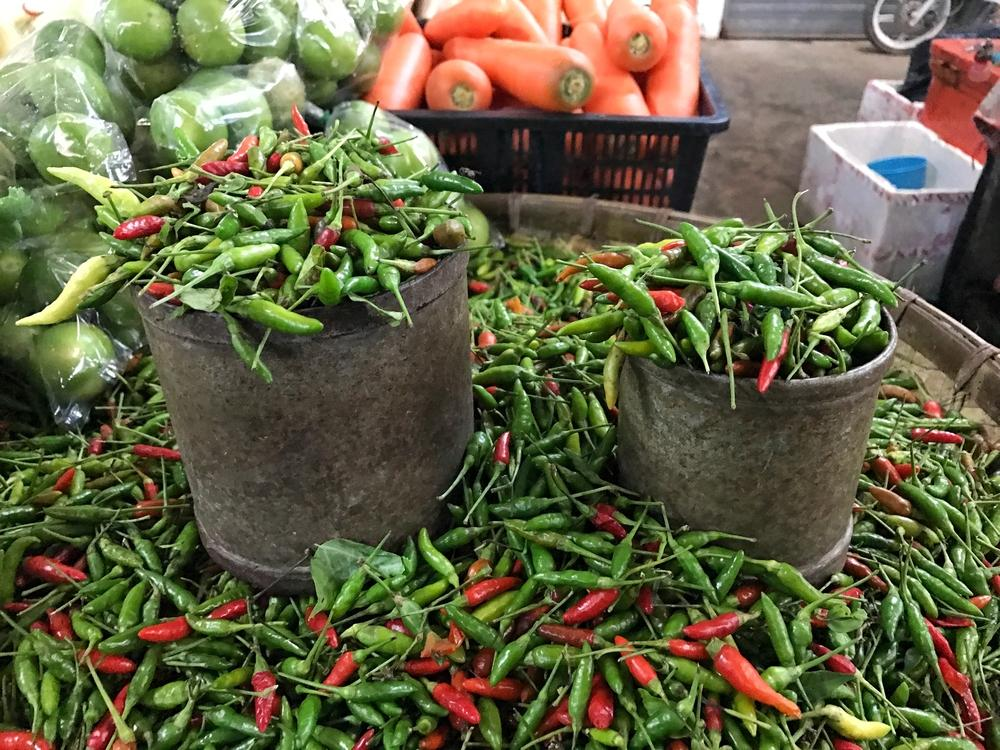 basket of organic chilis