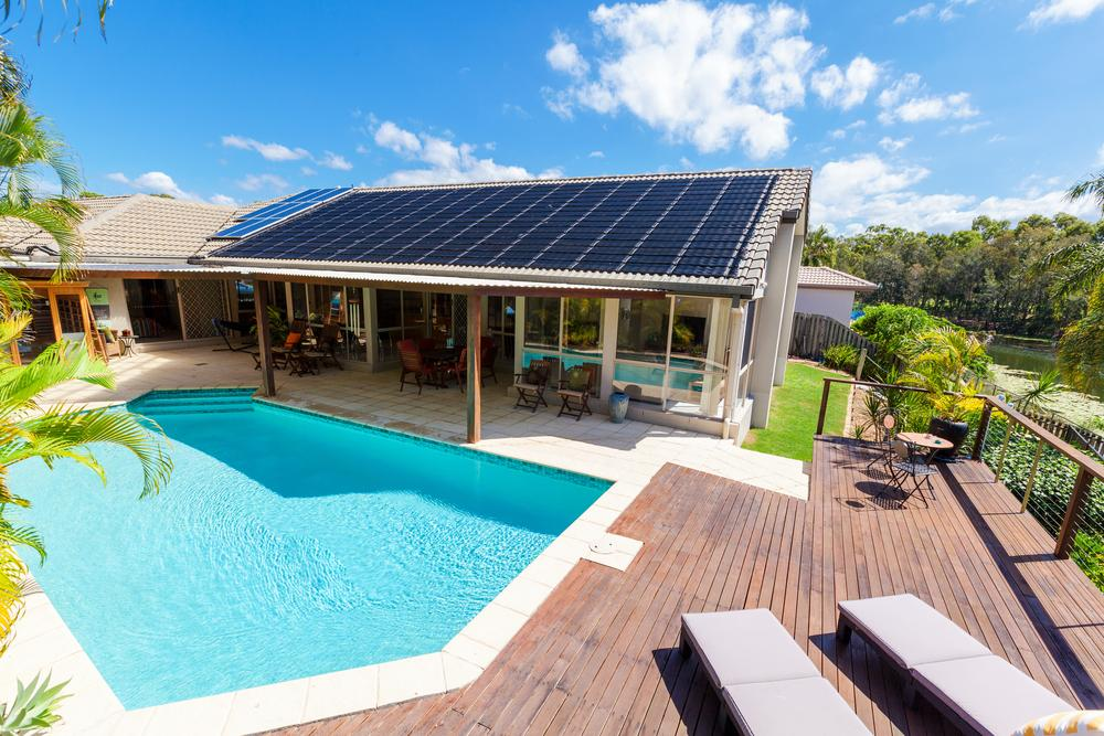 pool heated with solar power