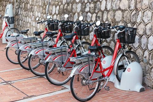 Electric bikes in row