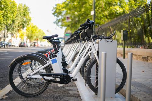 Electric bicycles in stands