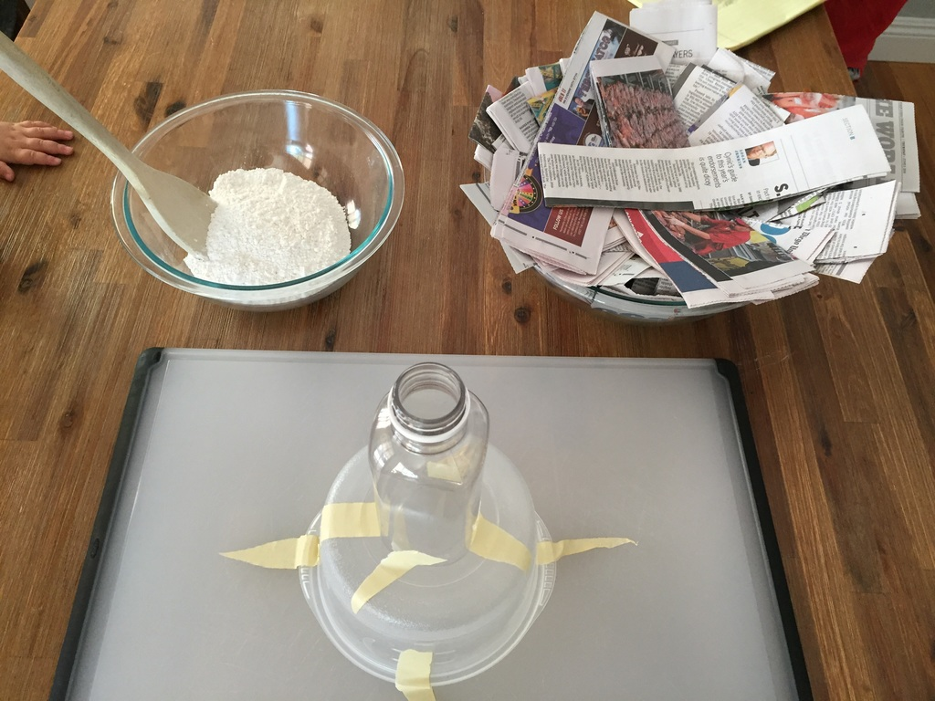 how to make a volcano, step 6: get your base, glue and paper strips ready