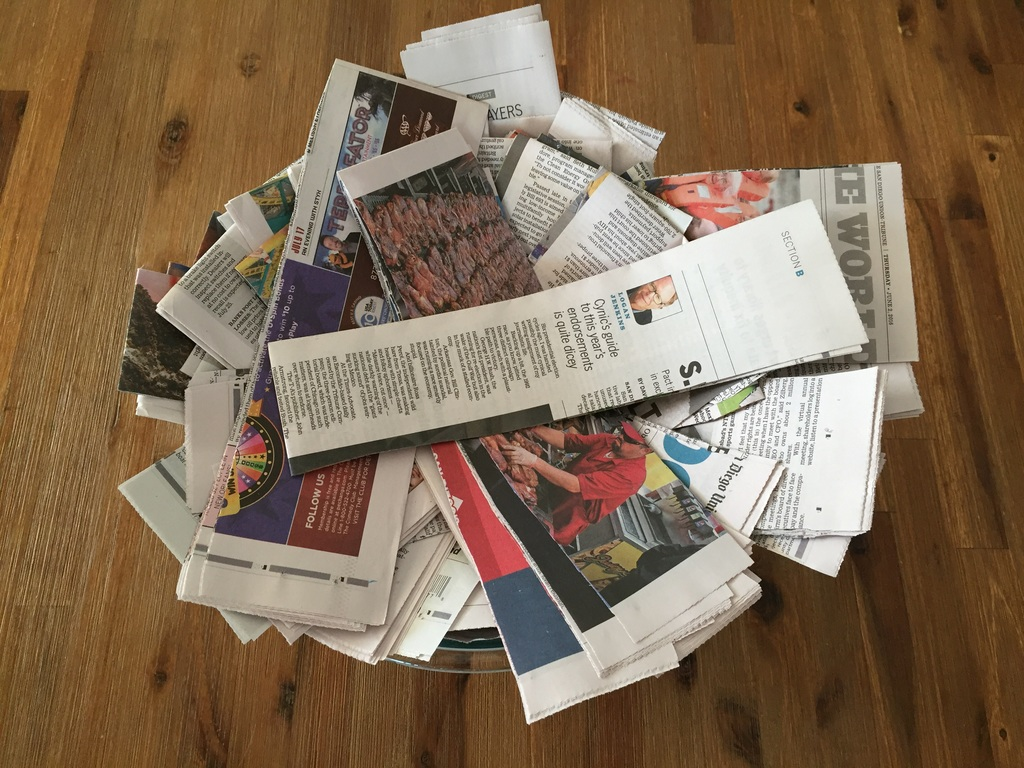 how to make a volcano step 5: cut up newspapers